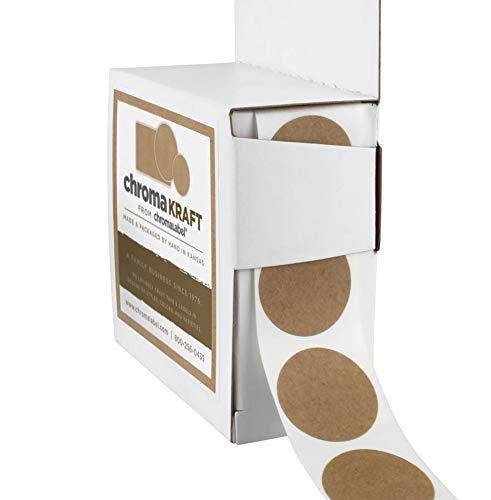 ChromaLabel Round Permanent Kraft Dot Stickers, 1000/Dispenser Box, 1 inch