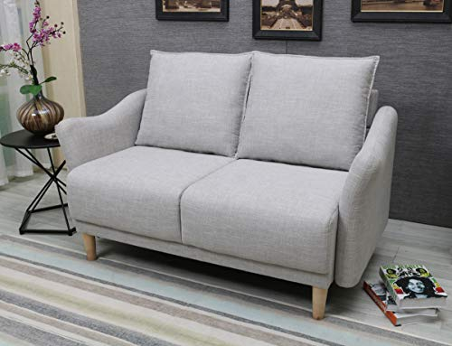 "BLF Linen Fabric Small Sofa 56"" Modern Sofa Couch, Contemporary Love seat and Loveseat Sofa, 2 Seat Sofa for Small Space, Light Grey"