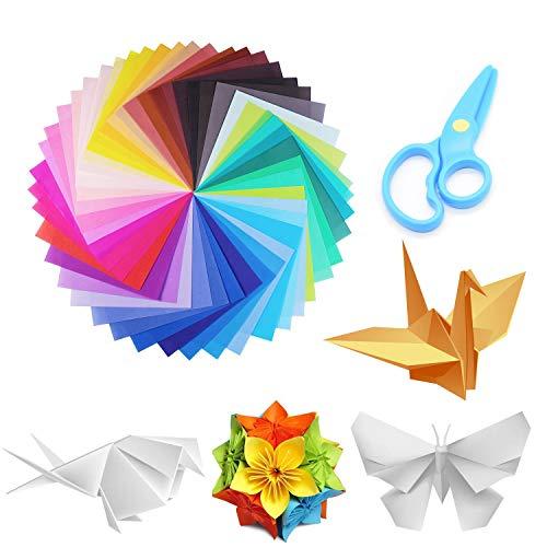 YIKEF Papel para Papiroflexia, 150 Hojas Papel de Origami 15 x 15 cm 50 Colores 1 tijera de plástico para Manualidades DIY Proyectos de Artes y Manualidades Juego de Origami Animado