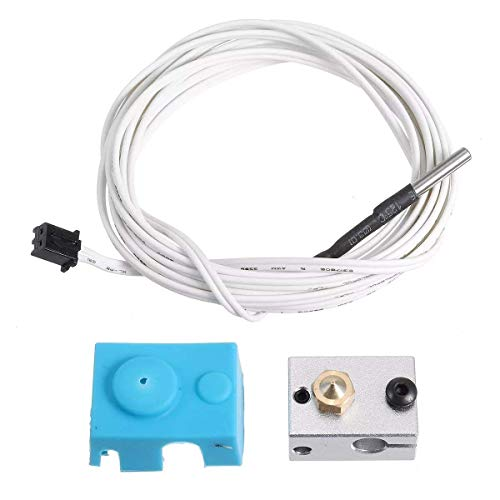 OGUAN PT100 V6 Aluminum Block Silicone Case Kit with 2m Thermistor Wire for 3D Printer