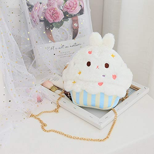 N / A Plüsch Einhorn Kaninchen Spielzeug Plüsch Umhängetasche Kawaii Kuchen Einhorn Kaninchen Cross Body Plüsch Tasche Geburtstagsgeschenk für Freundin Mädchen 25x22CM