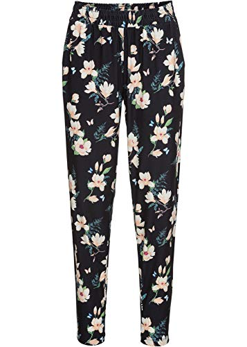 bonprix Hübsche Jogging Pants mit Print und Taschen schwarz geblümt lang 52/54 für Damen