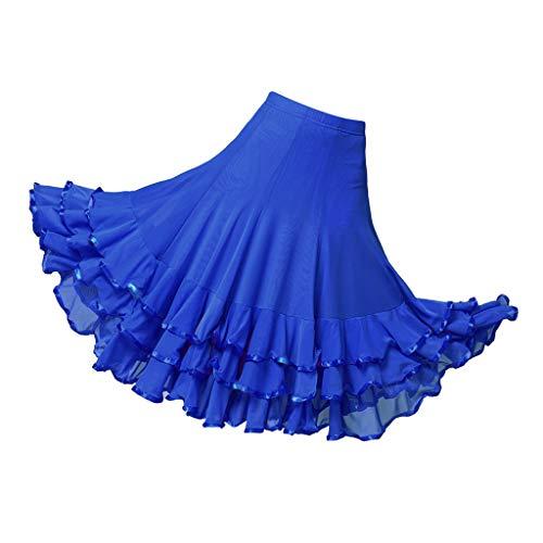 Hellery Frauen Erweiterungs Rock Lateinischer Tanz Kleid Kleidungs Kostüm Ballsaal Rock - Königsblau, Taille 60-98 cm