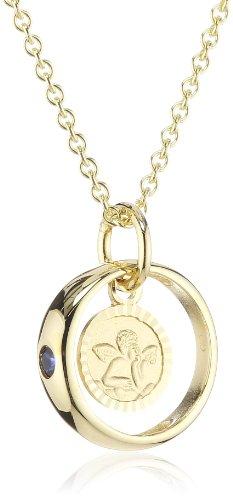 Xaana Kinder und Jugendliche Halskette Taufring mit Schutzengel 8 Karat (333) Gelbgold Saphir blau + 925 Silber Kette vergoldet 36-38 cm AMZ0193