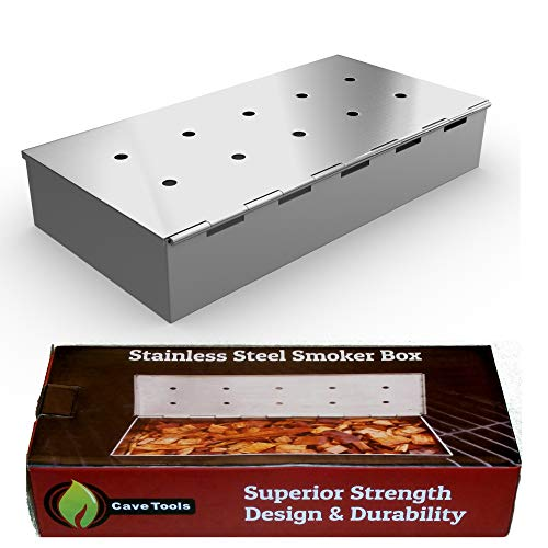 Smoker Box for BBQ Grill Wood Chips - 25% THICKER STAINLESS STEEL WON'T WARP - Charcoal & Gas Barbecue Meat Smoking with Hinged Lid - Best Grilling Accessories & Utensils Gift for Dad by Cave Tools