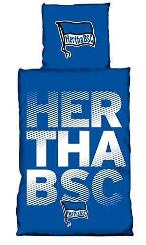 Hertha BSC Bettwäsche 135 x 200 cm Schriftzug blau weiß Baumwolle