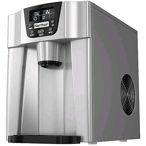 Northair 2 in1 Ice Maker and Water Dispenser with Automatic Shut-down System,S-L 2 Size Bullet Ice, with LCD Display,Silver