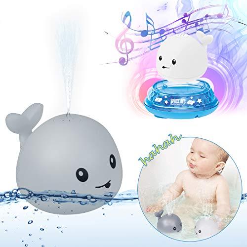 O-Kinee Juguetes de Baño para Bebés, Rociador de Ballena de Inducción Automática Juguetes Divertidos, Juguete de Agua, Juguete Sensorial de Rociado de Agua 2 en 1, Juguete de Fuente Musical (Gris)