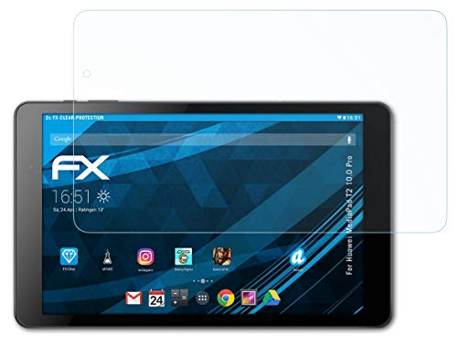 atFolix Schutzfolie kompatibel mit Huawei MediaPad T2 10.0 Pro Folie, ultraklare FX Bildschirmschutzfolie (2X)