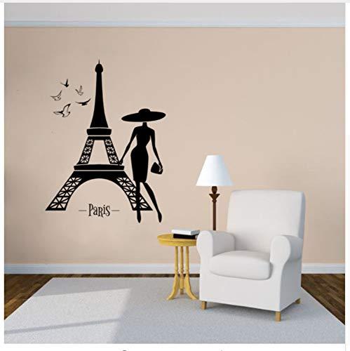 Paris France Romance Sticker Mural Paris Tour Vinyle Sticker Belle Fille Oiseaux Design Mur Affiche Home Decor Cadeau 42x57 cm