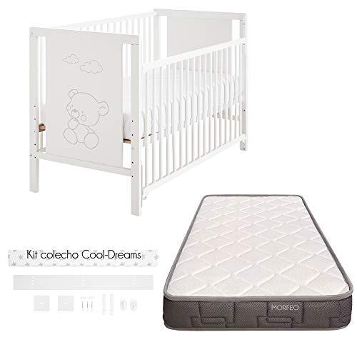 Cuna colecho Baos 120x60 con lateral abatible y 10 alturas colecho + kit colecho + Colchón HR