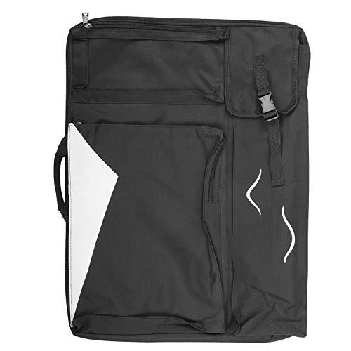 Bolsa de dibujo artística, mochila impermeable para almacenamiento de tableros de bocetos, bolsa multifunción de viaje, para tablero de dibujo, caballete plegable, papel para bocetos(Negro)