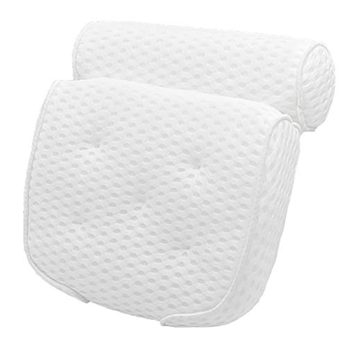 Oreiller de bain 3D Mesh Spa Baignoire Oreiller avec Ventouse for lencolure dos Salle de bain Cushion Non-Slip de bain Spa Pillow gris Color : Pink