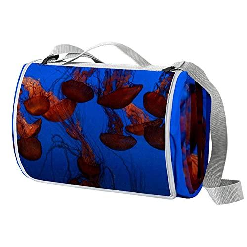 Manta de picnic portátil de 57 x 59 pulgadas, impermeable, para playa, viajes, camping, césped, música, festival de medusas