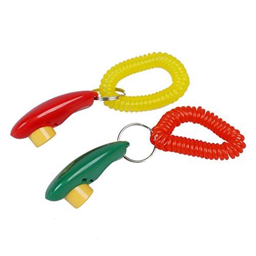 Dasing Hund-Training Clicker i Click Klicker mit Armband - rot & Gruen, Fuer Clicker Training - 2 STK. / Pack