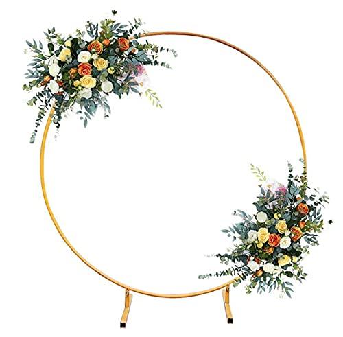 GHN Kit Arco a Palloncino Rotondo in Metallo Enorme Rimovibile Facile da Trasportare E Migliore Decorazione per Eventi di Festa Festa di Compleanno Anniversario di Matrimonio 2 m/Oro
