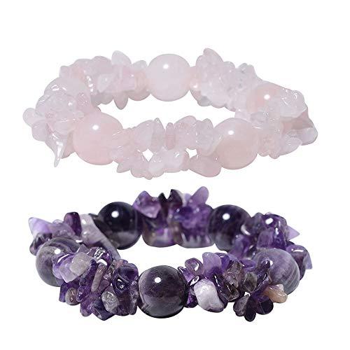 TJC Set of 2 - Amethyst and Rose Quartz Stretchable Bracelet (Size 7) 504.00 Ct.