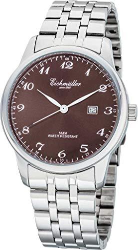 Eichmüller Reloj de hombre RE1066 de acero inoxidable, color marrón, correa de metal, 42 mm