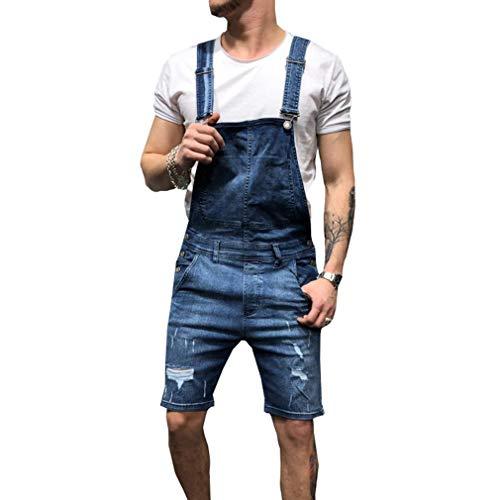 Juleya Salopette Corta in Denim da Uomo Tuta di Jeans Strappata con Foro Corto Jeans Tuta Tuta Intera di Un Pezzo