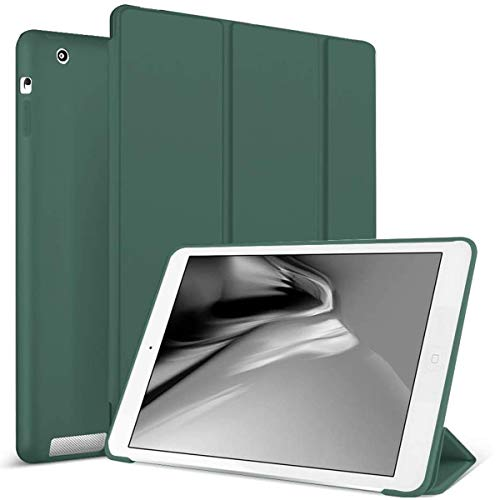 ZOYU Case for iPad 2/3/4 (Old Model) Slim Lightweight Tri-Fold Silicone Stand Cover with Auto Sleep/Wake Function,for Old iPad 2th/3th/4th Generation Case (Dark Green)