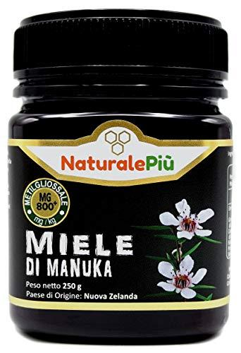 Manuka-Honig 800+ MGO 250g. Hergestellt in Neuseeland, Aktiver und unbehandelter, rein und natürlich. Von akkreditierten Laboratorien getestetes Methylglyoxal. NaturalePiù
