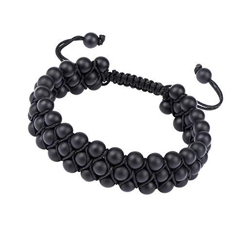ELEMEN Genuine Stone Beads Bracelet - Natural Stone Prayer Mala Beads Black Obsidian Beaded Bracelet Adjustable (Black Onyx 6mm)