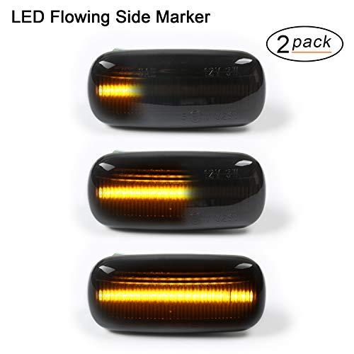 OZ-LAMPE Clignotant latéral LED dynamique 2 X LED 18 SMD avec non-polarité CAN-bus Sans erreur OE Socket Fumée Compatible avec Au-di A3 S3 8P A4 S4 RS4 B6 B7 A6 S6 RS6 C5 C6 A8 D3 TT Mk2 8J Roadster