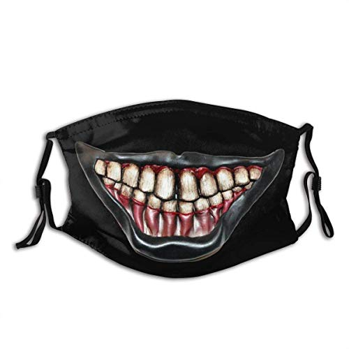 Horror Mouth Scary Face Neck Gaiter Scarf Custom Washable Half Buff Face Mask Funny Cute Balaclava Mouth Mask, Face Covering Cloth