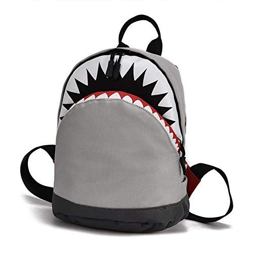 Kids 3D Model Shark School Bags Child's School Bag For Boys And Girls Backpack Canvas Backpack Small-Gray