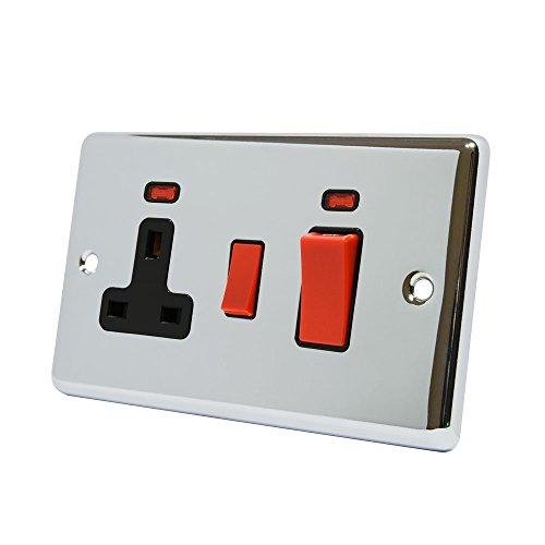 AET cpccc2nbl 2-Gang 45A klassischen Chrom poliert schwarz Einsatz Herd Schalter mit 13A Schalter Steckdose und Neon Indikatoren