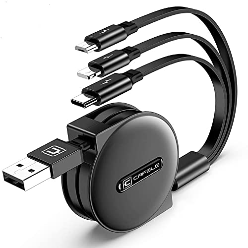 CAFELE 3 in 1 Einziehbares Ladekabel Aufroller[1,2M],Schnellladung&Datenübertragung Multi USB Kabel,für Ph0ne/Typ C/Micro USB iP 12 11 Pro Max Xs Xr Samsung Galaxy A21 S20 Pixel LG Huawei Xiaomi