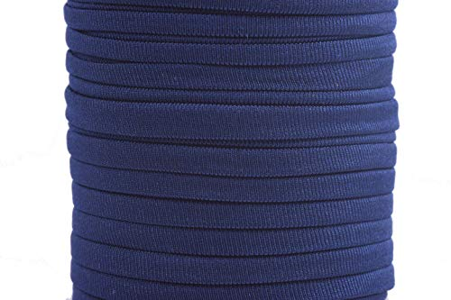 KONMAY 1 Roll 20 Yards 5.0mm Navy Blue Flat Elastic Cord Stitched Stretchy Spandex Cord