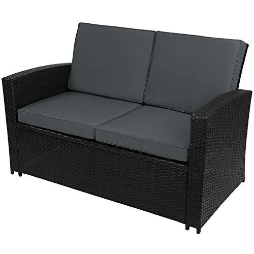 Montafox 12-teilige Polyrattan Sitzgruppe 4 Personen 5 cm Sitzpolster Tisch Balkonmöbel Set Sitzgarnitur Schwarz, Farbe:Titan-Schwarz/Nachtschwärmergrau - 3