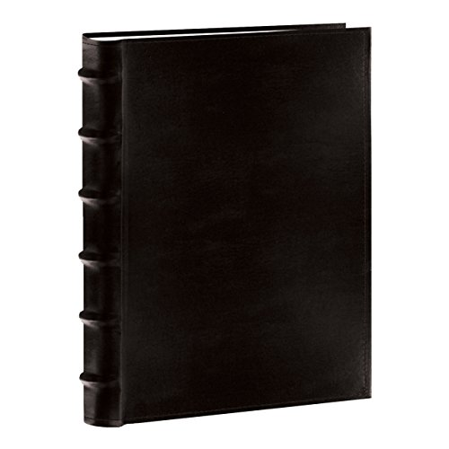 Pioneer Sewn Bonded Leather BookBound Bi-Directional Photo Album, Holds 300 4x6' Photos, 3 Per Page. Color: Black.