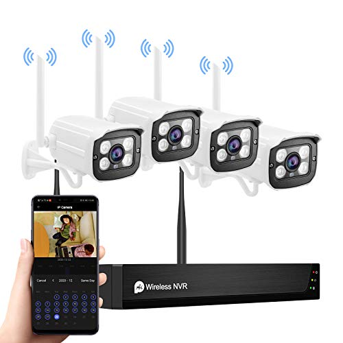 1080P Wireless Security Camera System with Two Way Audio, WiFi Wireless NVR System with Full HD 8CH NVR 4Pcs Plug&Play,Waterproof,Night Vision,Motion Alert,for Outdoor Indoor Home,No Hard Disk.