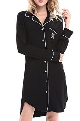 NORA TWIPS Women Long Sleeve Pajama Top Buttom Down Sleep Shirt Dress (XS-XL)