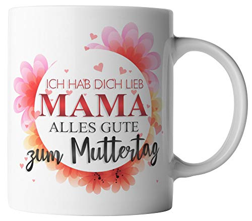 vanVerden Tasse - Ich hab dich lieb Mama Alles Gute zum Muttertag - Geschenk zum Muttertag - beidseitig Bedruckt - Idee Kaffeetassen, Tassenfarbe:Weiß