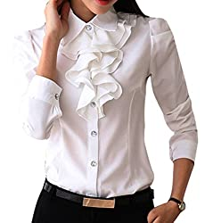 UK 6(Tag S); UK 8(Tag M); UK 10(Tag L); UK 12(Tag XL); UK 14(Tag 2XL); UK 16(Tag 3XL); The Blouse is on the small side, please buy one size lager Button up ruffle blouse Long sleeve Made in China