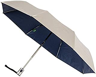 CLIFTON UMBRELLAS Silver Coated; Navy Inside Automatic Umbrella, Silver and Navy Blue, One Size