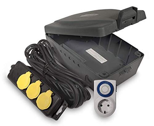 LUCECO MasterPlug WBXIP36T/E-MP Boîte étanche pour extérieur, Jardin, IP54, avec câble d'extension de 6 m