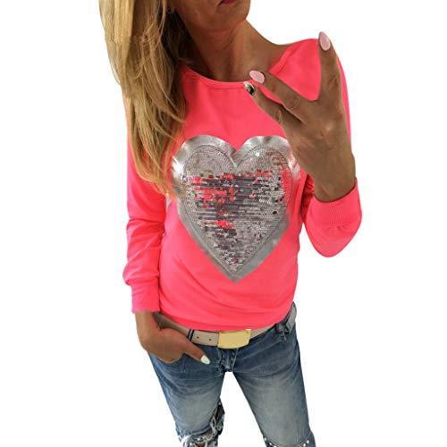 Caramelo de Mujer Fluorescente Cuello Redondo Manga Larga Corazón Camiseta de Lentejuelas Casual Elegantes Blusa Delgado Sudadera Camiseta Oficina Camisa riou