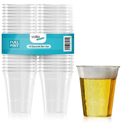 Bier Plastikbecher Alkohol Getränke Stabile Einwegbecher Trinkbecher durchsichtig 500 ml Kunststoffbecher Partybecher 50 Stück