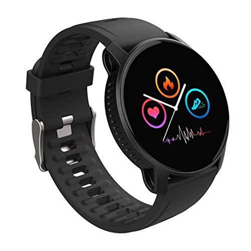Reloj inteligente W9, pantalla táctil, monitor de frecuencia cardíaca, llamada, recordatorio, impermeable, para Android e iOS (color: negro)