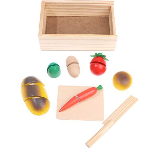 RUIYELE Juego de juguetes de madera para cortar frutas, verduras, cocina, set de corte de madera, juguetes educativos para niños, niños, niñas, 9 unidades