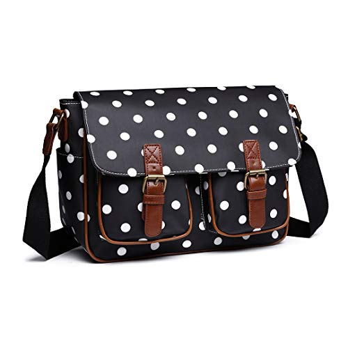 Kono Women's Multi Pocket Messenger Bag Casual Shoulder Bag Oilcloth Satchel Polka Dot Bag Cross Body Bag Travel Bag Messenger Handbag for School Shopping Daily Use (Black)
