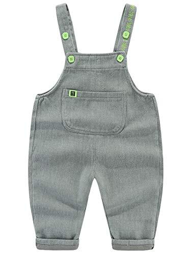 Camilife Baby Jungen Mädchen Basic Denim Latzhosen Overall Baumwolle Jeans Hose mit Hosenträger Bonbon Farben Süß Lieblich - Einfarbig Grün Größe 80