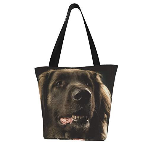 Bolsa de lona personalizada, para perro Leonberger, color oscuro, lavable, bolsa de hombro para mujer