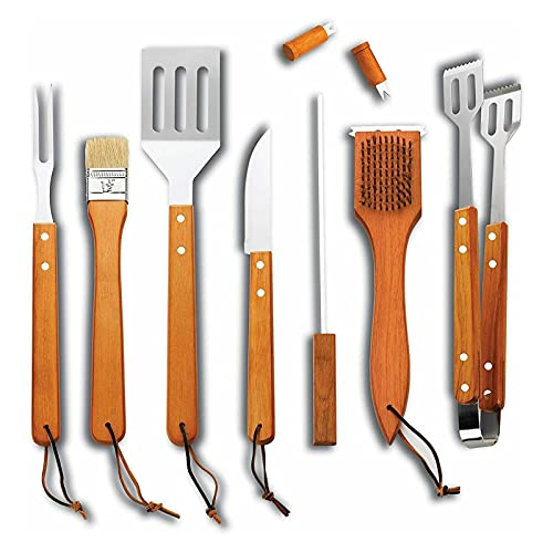 Jinyank 18 Piece Stainless Steel Barbecue Set BBQ Grill Accessories with Fork Knife Brush Tongs Corn Holders Camping Barbecue Grilling Utensils Kit for for BBQ Lovers on Birthday Christmas