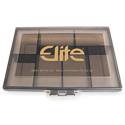 Supplement Organiser | Healthspan Elite | Official Partner of The All Blacks | Light-Weight & Compact | 7 Spacious Compartments