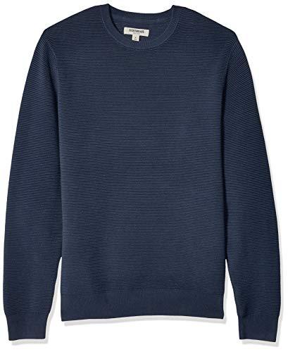 Marca Amazon - Goodthreads: suéter de punto otomano de algodón suave con cuello redondo para hombre, Marino, US S (EU S)